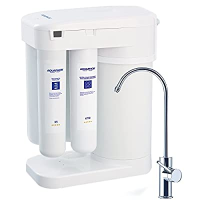 Aquaphor Water Filters RO-101 Reverse Osmosis Water Filtration System 7 Stage Non Electric Compact Under Sink Ro No Booster Pump Needed Patented Water Airless Tank Remineralization Cartridge