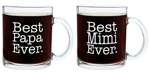 Christmas Gifts for Mimi and Papa Best Ever Funny Fathers Day Gift Glass Coffee Mug Tea Cup