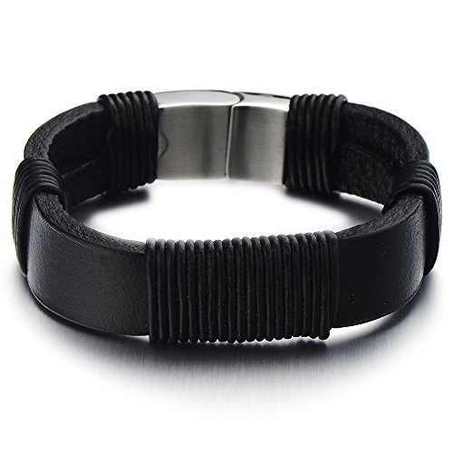 Leather Bracelet Wristband Stainless Magnetic