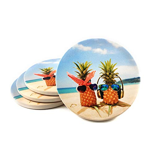 Chateau Gold | Pineapple Coasters Set for Drinks | Absorbent Coasters of Ceramic Stone with Cork Backing | Protects Your Furniture from Water Rings, Spills, and Scratches | Set of 4