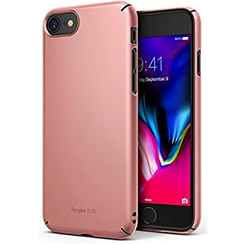 Ringke [SLIM] Apple iPhone 7 / iPhone 8 Case Snug-Fit Slender [Tailored Cutouts] Extreme Lightweight & Thin Superior Coating PC Hard Skin Cover - Rose Gold