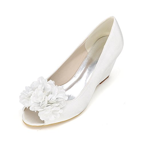 Toe autumn Summer with Red Open Women White Wedding Velvet YC Slope High L Spring Heels wv4gYqx