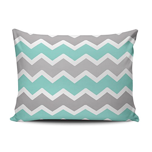 - KEIBIKE Personalized Chevron Pattern - Aqua Blue,White and Gray Zig Zag Pattern Classic Stripes Pattern Boudoir Rectangle Decorative Pillowcases Art Throw Pillow Covers Cases 12x18 Inches One Sided