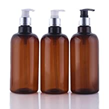 500ml/16.6oz Refillable Empty Brown Plastic Pump Bottles Jars Set with Pump Tops for Makeup Cosmetic Bath Shower Toiletries Liquid Containers Leak Proof Portable Travel Accessories Pack of 3