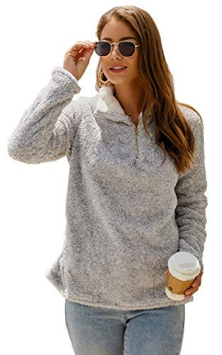 Angashion Womens Sweatshirt - Long Sleeve 1/4 Zip Up Faux Fleece Pullover Hoodies Coat Tops Outwear with Pocket 174 Silver Grey M ()