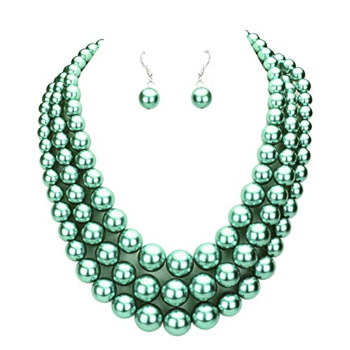 Sophia Collection Super Chunky Frosted Teal Blue-Green Imitation-Pearl Layered Necklace on Silver-Tone w/Earrings 18