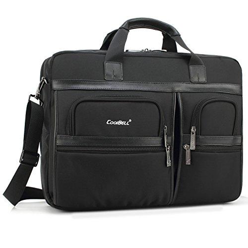 Laptop Briefcase, CoolBell 17.3 Inch Protective Messenger Bag Nylon Shoulder Bag Multi-functional Hand Bag For Laptop / Ultrabook / Tablet / Macbook / Dell / HP / Acer / Men/Women/Business (Black)