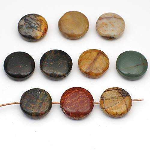10 Pcs Multicolor Flat Round Red Creek Jasper Disk Beads ()