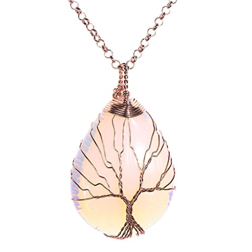 JOVIVI Vintage Tree of Life Wire Wrapped Copper Teardrop Opalite Gemstones Pendant Necklace