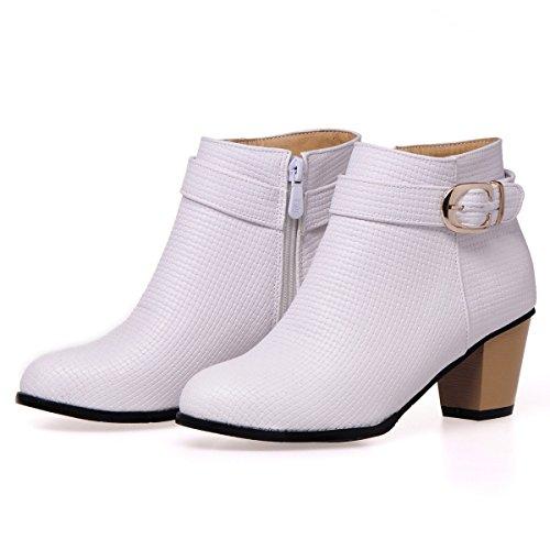 Ceinture Bas Courtes DYF Couleur Grande Bottes Chaussures Rugueux 40 Solide Taille Blanc Boucle Talon xpnx18v
