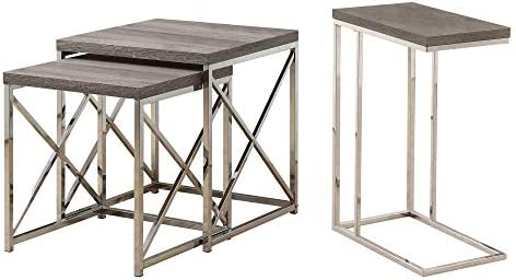 Monarch Contemporary Accent 2-Piece Dark Taupe Nesting End Tables Side Table