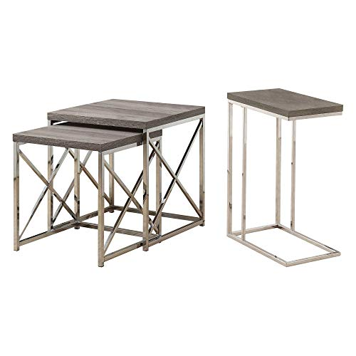 Monarch Contemporary Accent 2-Piece Dark Taupe Nesting End Tables & Side Table (Tables End Nested)