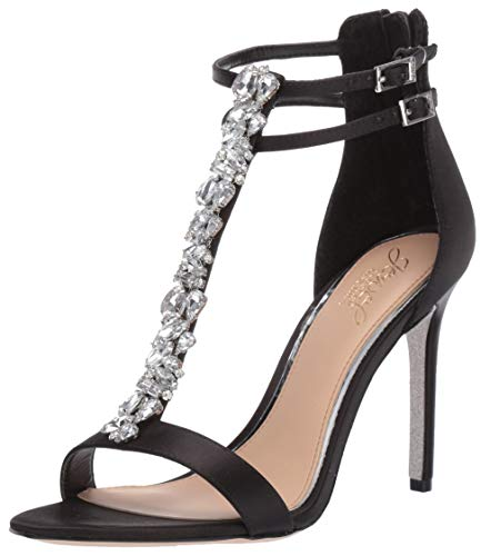 Badgley Mischka Jewel Women's Daughtry Heeled Sandal, Black Satin, 8.5 M US
