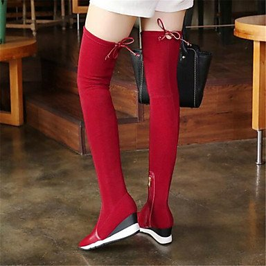 Women's Shoes PU Winter Mary Jane Boots Wedge Heel Feather For Casual Black Red red 9LW1ZZ7