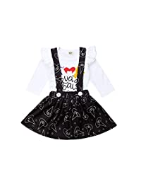 Infant Toddler Baby Girl Halloween Outfit Long Sleeve Ruffle Romper Tops + Suspender Skirts Set