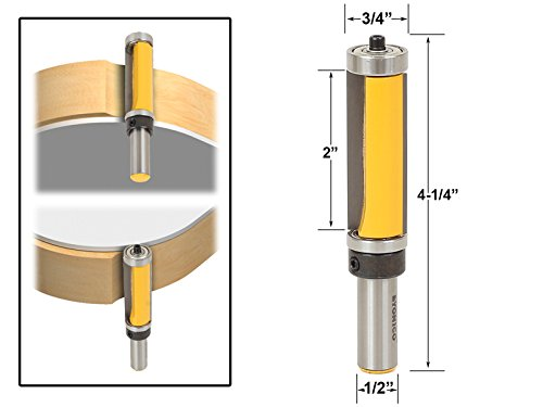 Yonico 14134 2-Inch Flush Trim Top and Bottom Bearing Router Bit 1/2-Inch Shank