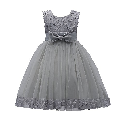 Weileenice 1-14T Big/Little Girl Ball Gown Lace Birthday Party Dresses A-line Flower Girls Dress with Bowknot for Wedding (5-6Y, Gray)