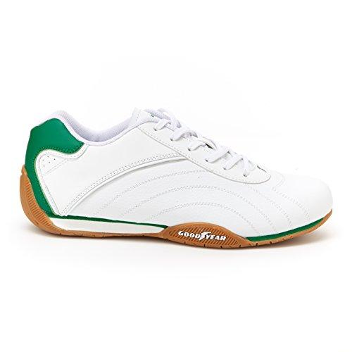 Goodyear Herren Ori Racer Sneaker - Niedrige Sneakers, PU-Leder & Mesh-Futter Weiß / Grün / Gummi