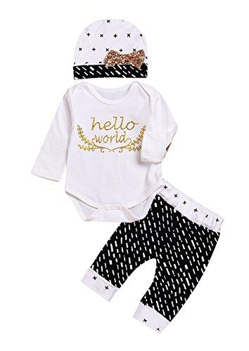 Kashoer 3Pcs Baby Boy Girls Bronzing Hello World Romper Top