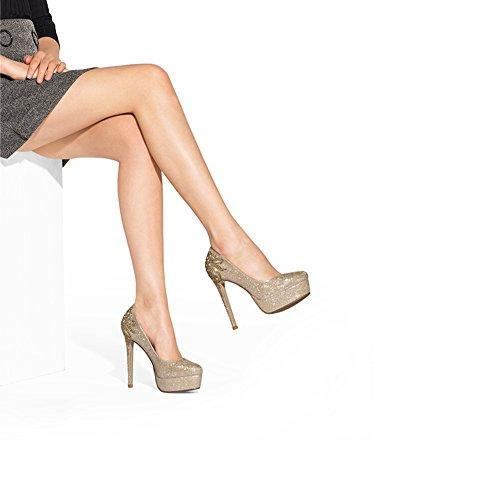EU39 CN39 de simples forme chaussures des avec strass de hautes de taille élevés plate d'or chaussures talons ronds avec fines imperméable mariage XUERUI de Nouvelle UK6 P48qZg