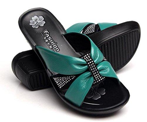 Femmes Strass En Cuir Mi-talon Wedges Mère Sandales Simples Pantoufles Plus La Taille Vert