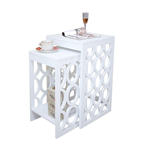 - Modern Pattern Square End Table Set for Small Spaces Coffee Nesting Table,2 Pcs