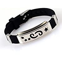 Unisex 12 Constellation Stainless Steel Astrology Silicone Bangle Bracelet CN LOVE STORY (Cancer)