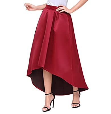 Acelitt Women Casual Asymmetric High-Low High Waist Pleated Hem Maxi Prom Skirt Burgundy Red Small