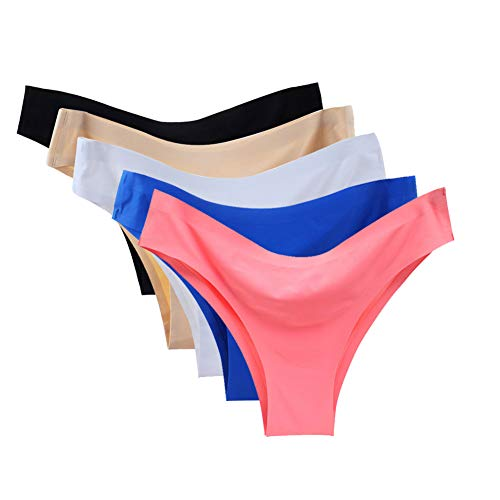- Vresqi Underwear Women Hipster Seamless Invisible Bikini Half Back Coverage Panties 5 Pack (XL/US L 8-10)