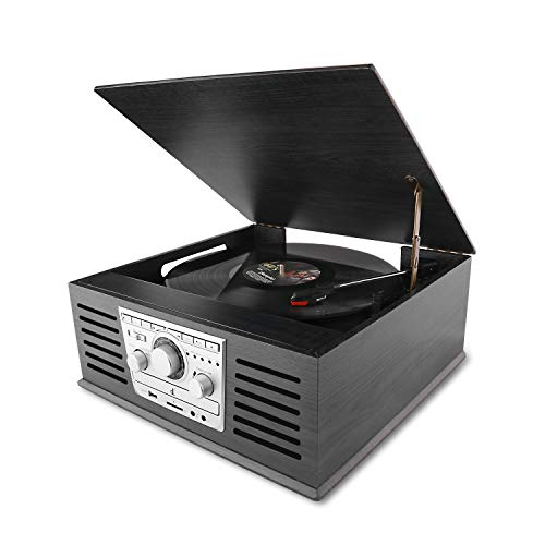 D&L Classic Record Player Wood 7-in-1 Bluetooth Phonograph with AM/FM, CD, MP3 Recording to USB, CD Player, FM Radio,AUX Input for Smartphones and RCA Output, Turntable for Vinyl Records