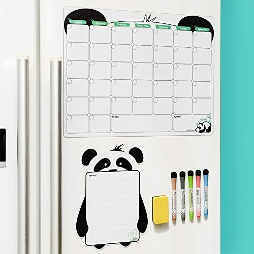 Mag-Fancy Panda Magnetic Calendar for Refrigerator - Stain Resistant - Monthly Dry Erase White Board Planner - Panda Gifts - with Small Size Note Board (Panda-Monthly Calendar)