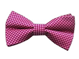 100% Woven Silk Fuschia and Pink Houndstooth Self-Tie Bow Tie