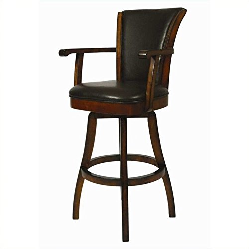Impacterra Glenwood Swivel Stool with Arms, Russet Cordovan/Brown, Bar Height