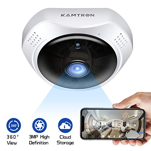360? Security Camera WiFi Pet Camera – KAMTRON 1536P Panoramic Fisheye Lens 3MP IP Indoor Camrea Baby Monitor with Motion Detection Two Way Audio and Night Vision, Cloud Service-2 Years Warranty