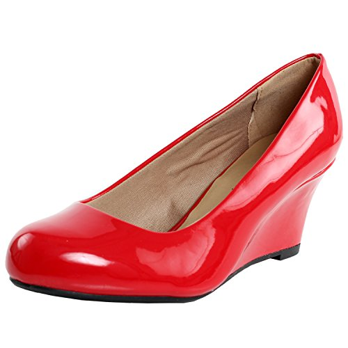 Red Patent Footwear - Forever Link Women's DORIS-22 Patent Round Toe Wedge Pumps Red 8