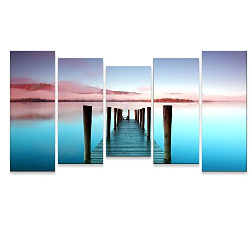 Calming Wall Art for Living Room, SZ 5 Piece Beautiful Pier Canvas Painting Prints of Dock on Mist Lake Picture, a Wharf to Dream World Seaside Landscapes (Bracket Mounted, Waterproof Artwork, (Seaside Dreams Poster)