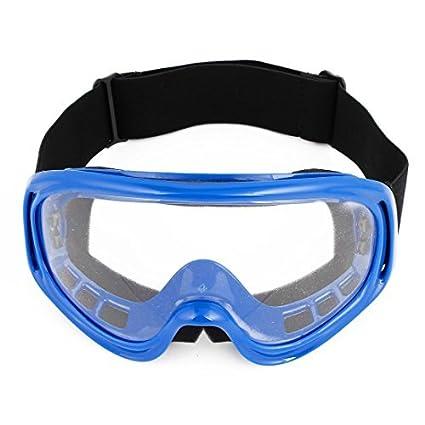 eDealMax Marco de plástico transparente de la lente del esquí de la motocicleta Gafas Azul