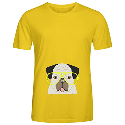 Emerson Pug With Neon Hipster Glasses Cute Mens Crew Neck Art Shirt (Schmidt Beer Glasses)
