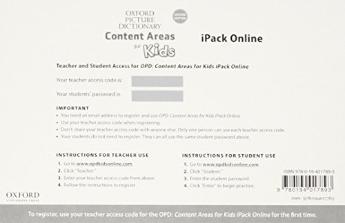 Oxford Picture Dictionary Content Area for Kids OPD: Content Areas for Kids iPack Online Access Card Pack