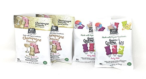 Project 7 Natural Gourmet Gummies Bundle of Four Two Ounce Bags: Two Each of Champagne Dreams and Party Mix (4 - Birthday 7 Project Cake