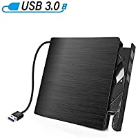 External CD Drive USB 3.0 Portable Slim External DVD Drive,CD DVD +/-RW ROM Rewriter Burner Writer/Player for MacBook Pro Laptop/Desktops Win 7/8.1/10 and Linux OS (Black.)