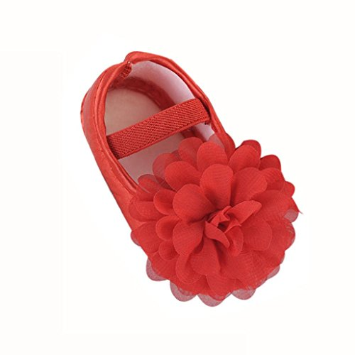 Hot Sale!Sunyastor Baby Sandals Chiffon Flower Elastic Band Non-Slip Soft Rubber Sole Summer Princess First Walking Shoes (Red, Asia 12)