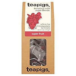 teapigs Super Fruit Tea 40 brew time - tea temple - 1 per person. Infuse in boiling water. Brew for 3+ minutes. Whole leaves take longer to brew, but the little wait is definitely worth it. Whole Leaf Tea in a biodegradable tea temple