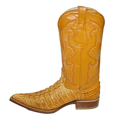 Cowboy Boot's Leather Crocodile Back Cut Cowboy Handmade Luxury Boots_Mango_11