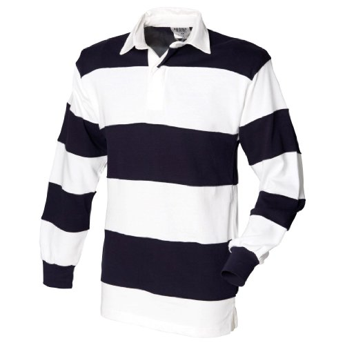 Front Row Men's Long Sleeve Sewn Stripe Rugby Shirt White/Navy/White M (Rugby Sewn Stripe Shirt)