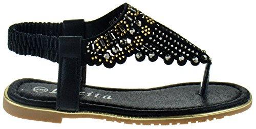 Picture of Lucita Pk3 1811KM Little Girls Rhinestone Glitter Gladiator Thong Sandals Black 4