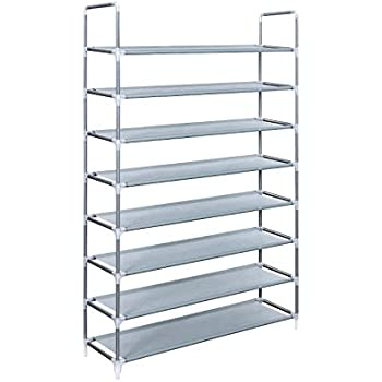 This Item Songmics 8 Tiers Shoe Tower Rack Shoe Storage Organizer Space  Saving Shoe Cabinet Grey ULSR08G