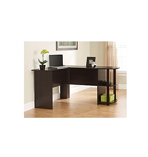 L-shaped Desk in Dark Russet Cherry with Its Large Work Surface and L-shaped Design, This Desk Is Great for Getting Things Done