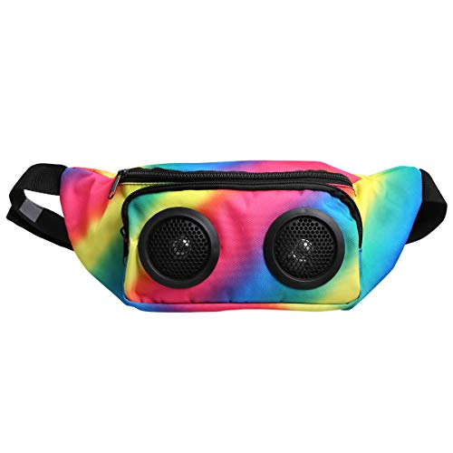 Wemco Dual-Speaker Fanny Pack with Audio Jack, American Flag, Battery-Powered Smartphone Holder and Music Amplifier, Perfect for Outdoor Biking (Rainbow)