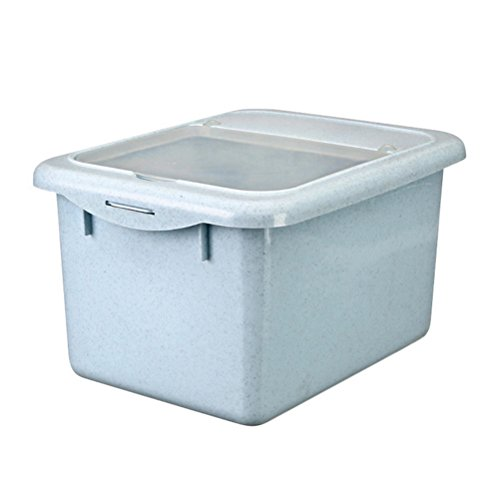 Daycount Rice Bucket With Lid Thickening Plastic Storage Box Sealed Cans Rice Container for Miscellaneous Grains, Dried Fruit, Snacks and Nuts Large Capacity 10kg/22 pounds (Blue)